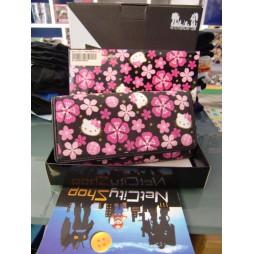 Hello Kitty - Portafoglio Lungo - Sfondo Nero Fiori Rosa