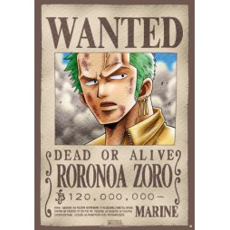 One Piece - Poster - Wanted Zoro - 98x68 cm