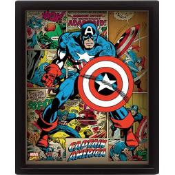 Poster 3D Lenticolare - Marvel Comics - Captain America - Poster - Captain America And Comics