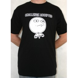 Facebook Memes - Challenge Accepted Black - T-Shirt LARGE