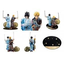 Naruto - Megahouse GEM STATUE - Shinsaku Kabuki Naruto - 2 Pak - Uzumaki Naruto & Uchiha Sasuke