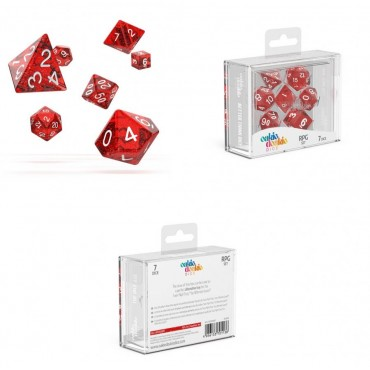 Oakie Doakie Dice - Set 7 Dadi RPG - Speckled - Red