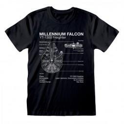 Star Wars - Millennium Falcon Sketch - T-shirt MEDIUM