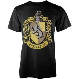 Harry Potter - Hogwarts Crests - Casate - Tasso Rosso (Hufflepuff) Nera Logo Giallo T-shirt SMALL