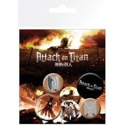 Attack on Titan - L\'Attacco dei Giganti - Pin Badges SET - SET Spille Personaggi e loghi