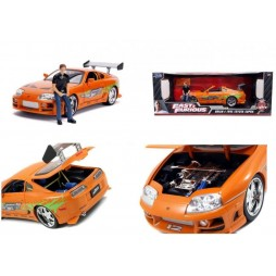 Fast And Furious - 1/18 SCALE - Prop Replica - Die Cast - 1995 Toyota Supra with Figure of Brian with Light-Up Function