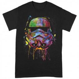 Star Wars - Paint Splats Art Stormtrooper Helmet Black - T-shirt MEDIUM