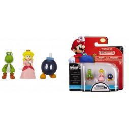 WORLD OF NINTENDO - Mario Bros U Micro Figure 3 PACK Wave 1 - Bob Omb - Princess Peach - Yoshi - Mini Vynil Figure SET