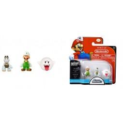 WORLD OF NINTENDO - Mario Bros U Micro Figure 3 PACK Wave 2 - Fire Luigi - Dry Bones - Boo - Mini - Vynil Figure SET