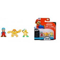 WORLD OF NINTENDO - Mario Bros U Micro Figure 3 PACK Wave 2 - Ice Mario - Boom Boom - Hammer Bros - Mini - Vynil Figure