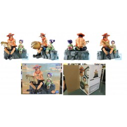 One Piece - Ichibansho PVC Statue - Emorial Vignette - Portgas D. Ace & Otama - Figure Diorama - BANDAI