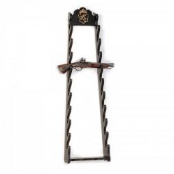 Medio Evo - Supporto Espositore per pistola o per katana - 10 Posti - color legno