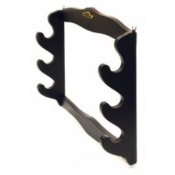 Medio Evo - Supporto Espositore per pistola o per katana - 3 Posti Da Muro - Color Legno Scuro