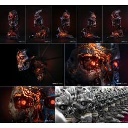 Terminator - Terminator 2 Judgement Day - T-800 Endoskeleton Face Mask - Life Size Bust 1:1 - Battle Damaged Version Lim