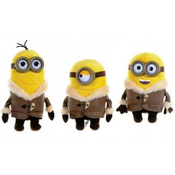 Minions The Movie Plush - Minion Ice Village Plush SET con Occhiali di Plastica - Complete Plush SET of 3 - Peluche 28 c