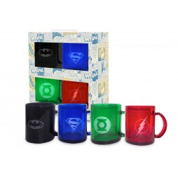 DC Comics - Tazza Vetro - Mug Cup - Batman Logo, Flash Logo, Green Lantern Logo, Superman Logo - Translucent 4-Pack SET