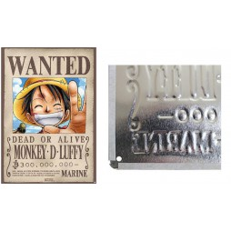 One Piece - Metal Plate Poster - Wanted Luffy - 28 x38 cm