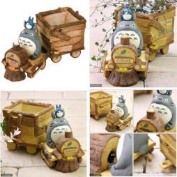 Il Mio Vicino Totoro - My Neighbour Totoro - Treno Diorama Vaso In Coccio