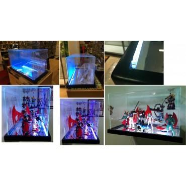 Display Case - Teca Su Misura - Doppia Illuminazione White + Remote Controlled Ambient Variable Light - 30Dx60Wx35H cm