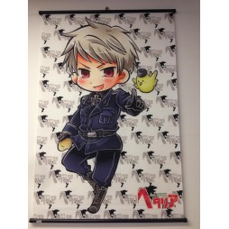 Hetalia Axis Powers - Poster - Wall Scroll in Stoffa - Chibi Gilbert Beilschmidt with Gilbird