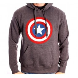 Captain America - Captain America\'s shield Grey - Felpa Hoodie EXTRA LARGE