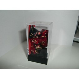 CHESSEX - Set 7 Dadi Gemini Black - Red Wl/Gold CHX 26433