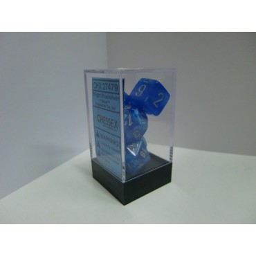 CHESSEX - Set 7 Dadi Velvet Bright Blue/Silver CHX 27479