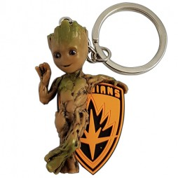 Marvel Comics - Keyring - 3D PVC - Guardians Of The Galaxy 2 - Young Groot Colored + Emblem