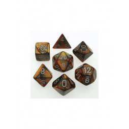 CHESSEX - Set 7 Dadi Lustrous Gold W/silver CHX 27493