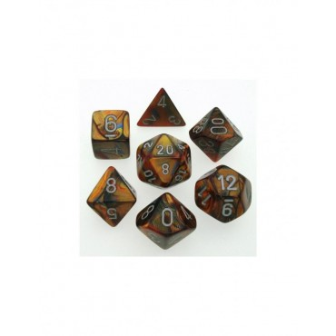 CHESSEX - Set 7 Dadi Lustrous Gold W/silver CHX 27493