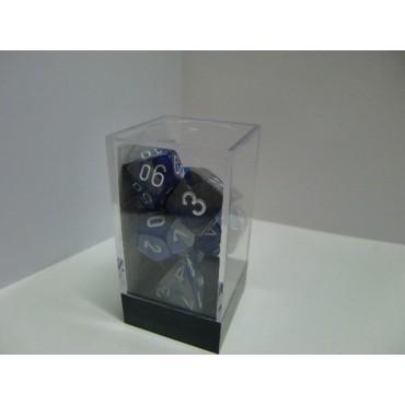 CHESSEX - Set 7 Dadi Gemini Blue - Steel/White CHX 26423