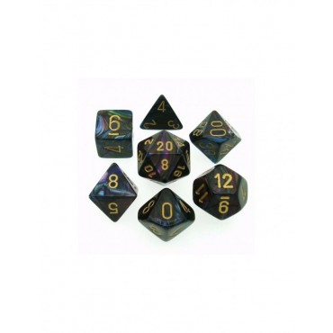 CHESSEX - Set 7 Dadi Lustrous Shadow W/gold CHX 27499