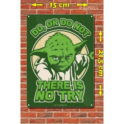 Star Wars - Metal Tin Plate Poster - Yoda Do Or Do Not There\'s No Try - 15 x21,5 cm