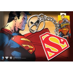 Dc Comics - Keyring - 2D Metal/Leather - Superman - CLASSIC Coloured LOGO