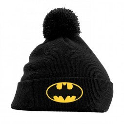 Dc Comics - Batman - Beanie Con Pom-Pom - Batman Logo on Black
