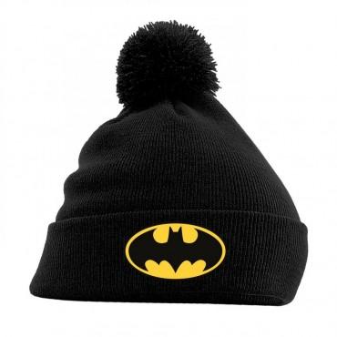 Dc Comics - Batman - Beanie Con Pom-Pom - Batman Logo on Black