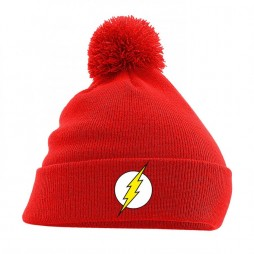 Dc Comics - Batman - Beanie Con Pom-Pom - Flash Logo on Red