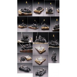 Dc Comics - Batman Begins - Legacy of Revoltech - Scaled Diorama - Batman and Batmobile Tumbler in Gotham City